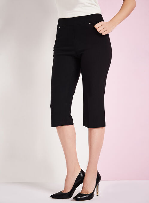Modern Fit Straight Leg Capris, Black, hi-res