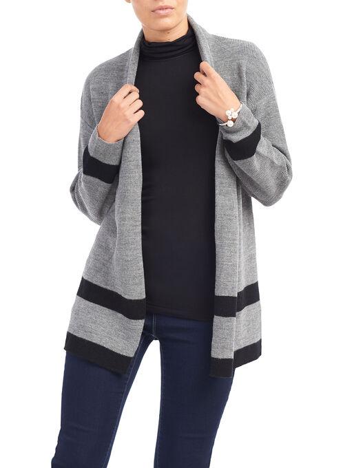 Long Sleeve Tunic Knit Cardigan, Grey, hi-res