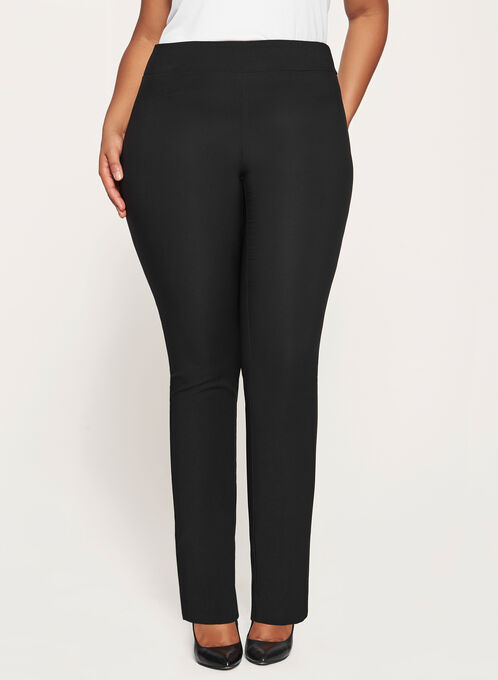 City Fit Pull-On Straight Leg Pants, Black, hi-res