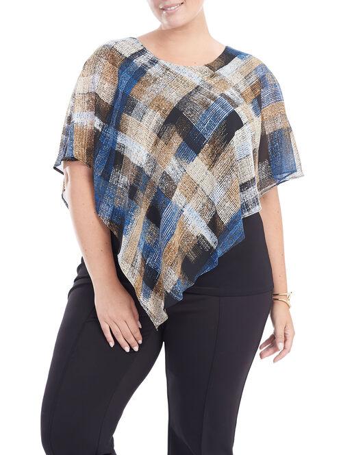 Asymmetrical Poncho Popover Blouse, Blue, hi-res