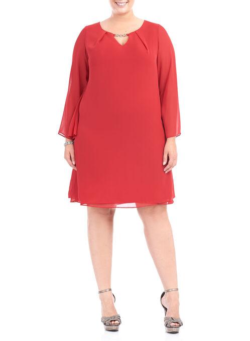 Chiffon Chain Trim Dress, Red, hi-res