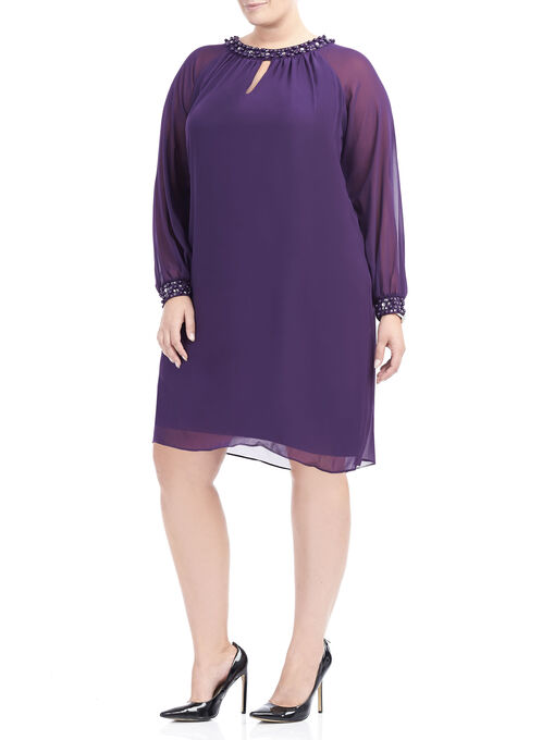 Long Sleeve Chiffon Pearl Trim Dress, Purple, hi-res