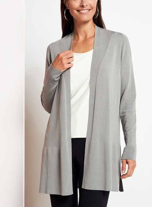 Open Front Side Slit Cardigan , Grey, hi-res