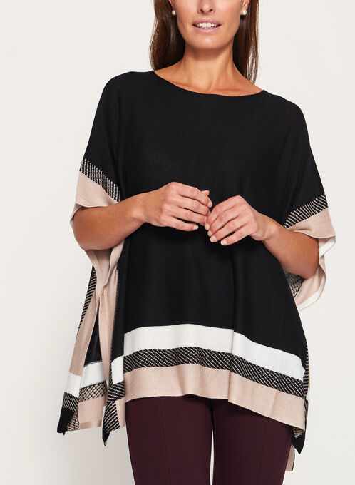 Lightweight Colour Block Poncho, Black, hi-res