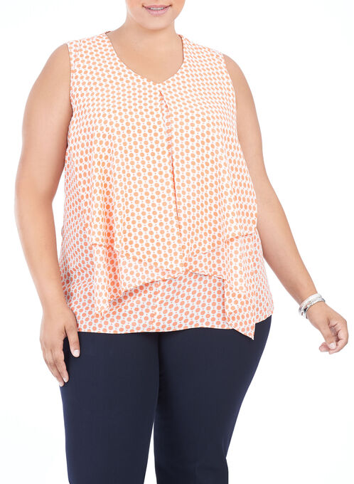 Sleeveless Printed Tunic Blouse, Orange, hi-res
