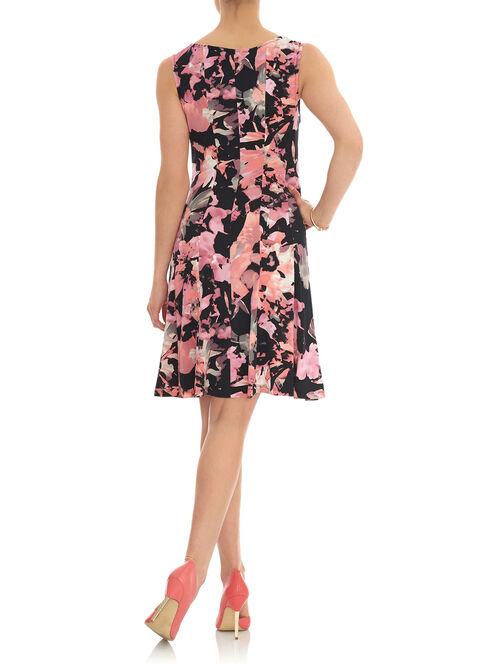 Floral Print Fit & Flare Dress, Orange, hi-res