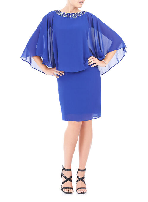 Jewel Trim Capelet Cocktail Dress, Blue, hi-res