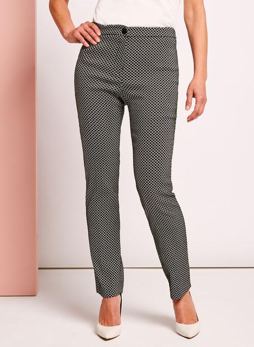 Mini Geo Print Straight Leg Pants, Black, hi-res