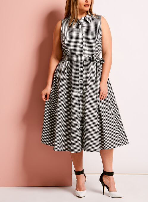 Collared Button Up Gingham Print Dress, Black, hi-res