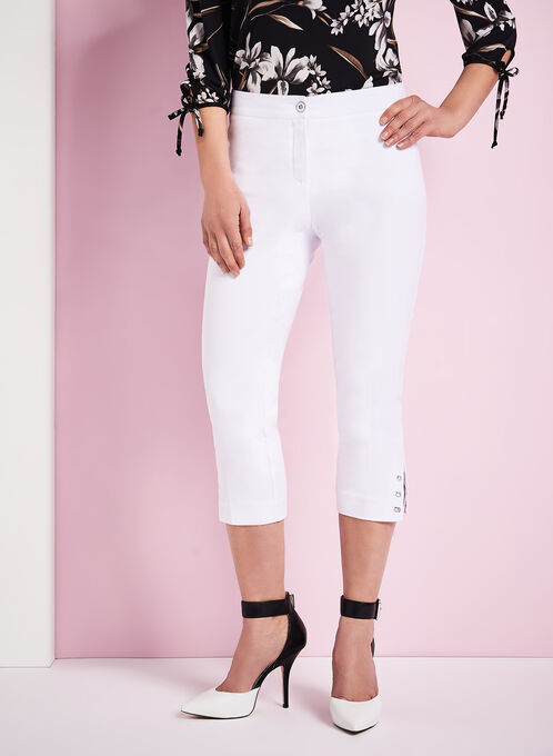 Modern Fit Capri Pants, White, hi-res