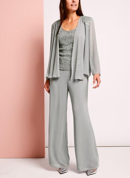 3-Piece Sequined Lace Pantsuit, Grey, hi-res