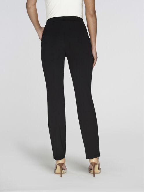 Ponte Straight Leg Pull-On Pants, Black, hi-res