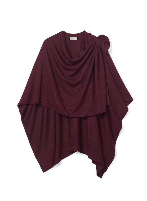 Draped Knit Ruana Poncho, Red, hi-res