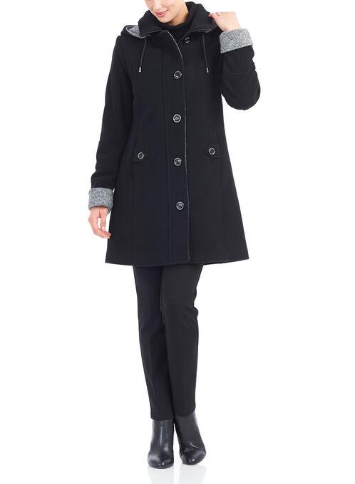 Wool Blend Detachable Hood Coat, Black, hi-res