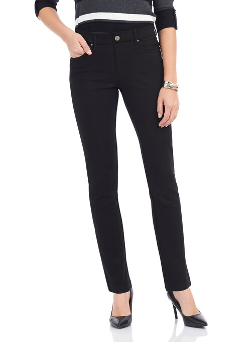 Simon Chang Ponte Straight Leg Pants , Black, hi-res