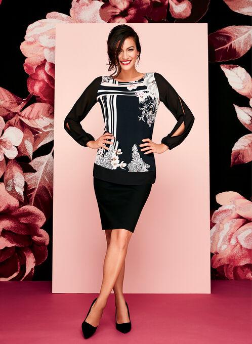 Jersey Floral Print Mesh Sleeve Top, Black, hi-res