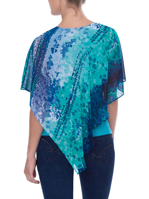 Printed Asymmetrical Popover Blouse , Blue, hi-res