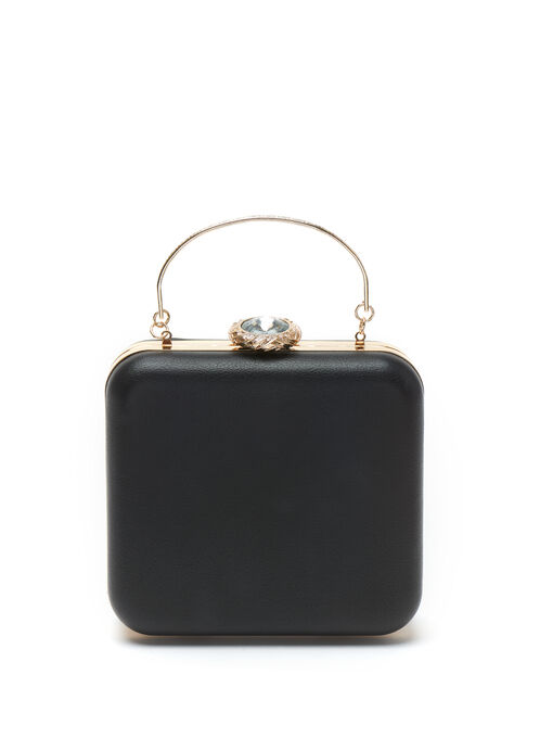 Faux Leather Square Clutch , Black, hi-res