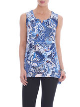 Sleeveless Pleated Detail Tunic Top, Blue, hi-res