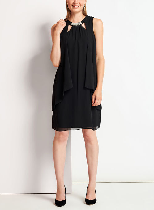 Chiffon Cutout Pearl Trim Dress, Black, hi-res