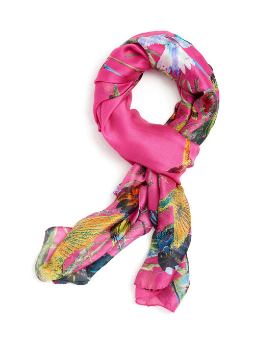 Oblong Satin Bird Print Scarf , Pink, hi-res