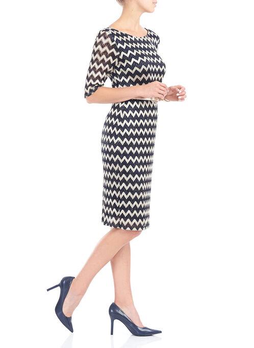 Elbow Sleeve Zig Zag Print Crochet Dress  , Blue, hi-res