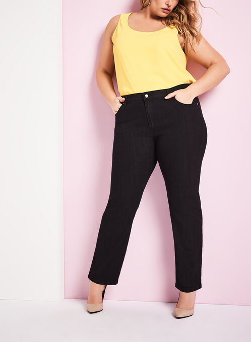 Simon Chang Straight Leg Jeans, Black, hi-res
