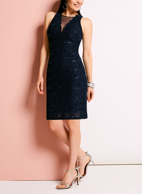 Glitter Lace Mesh Sheath Dress, Blue, hi-res