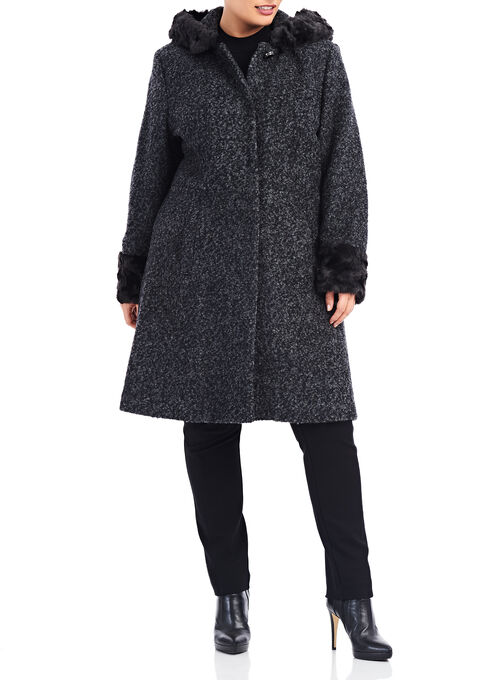 Novelti Wool Blend Bouclé Coat, Grey, hi-res