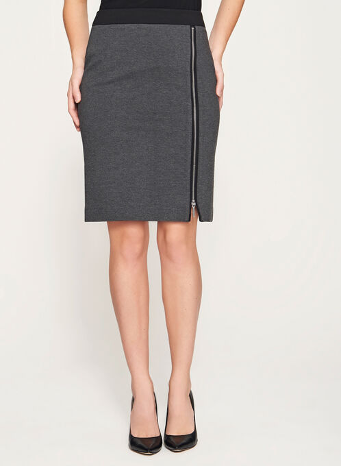 Zipper Front Ponte Skirt, Grey, hi-res