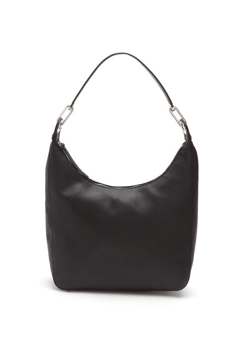 Hardware Handle Hobo Bag, Black, hi-res