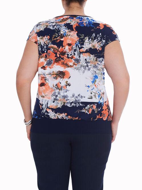 Short Sleeve Printed Blouson Top, Blue, hi-res