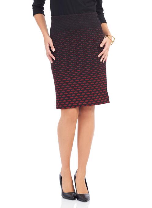 Knit Honeycomb Print Skirt , Black, hi-res