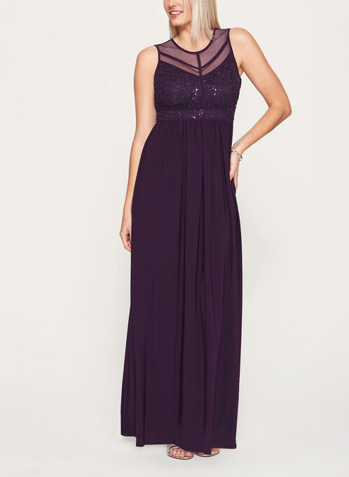 Sequin Lace Mesh Dress, Purple, hi-res