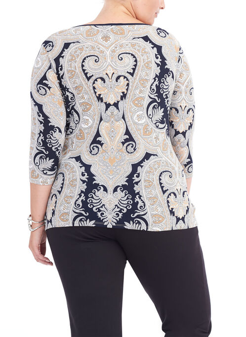 3/4 Sleeve Asymmetrical Paisley Print Top, Blue, hi-res
