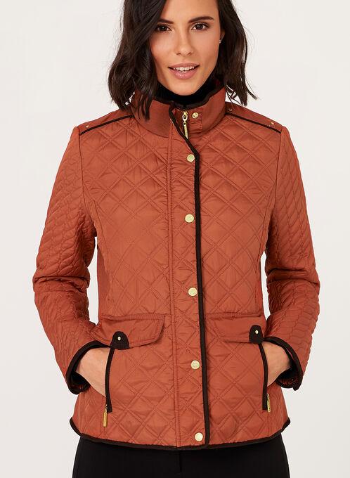 Weatherproof - Diamond Quilted Stand Collar Coat, Orange, hi-res