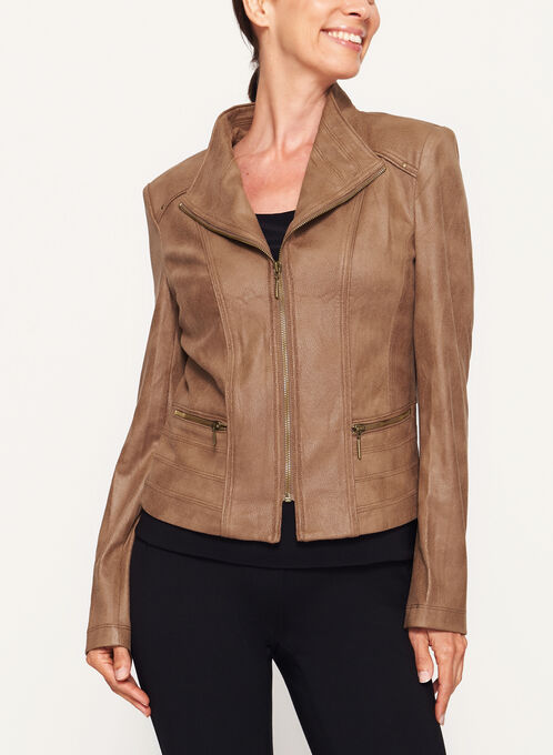 Faux Suede Zipper Trim Jacket