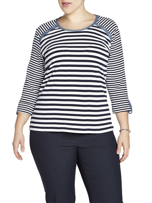 3/4 Sleeve Multi-Stripe T-Shirt, Blue, hi-res