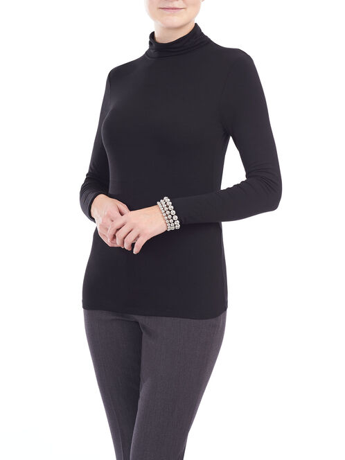 Basic Soft Knit Turtleneck Top, Black, hi-res