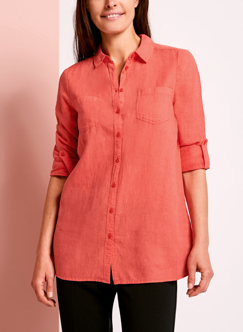 Dual Pocket Linen Button Down Shirt, Red, hi-res