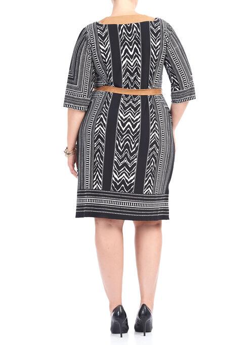 3/4 Sleeve Faux Suede Dress, Black, hi-res
