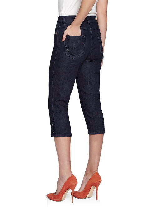 Denim Studded Trim Capris, Blue, hi-res