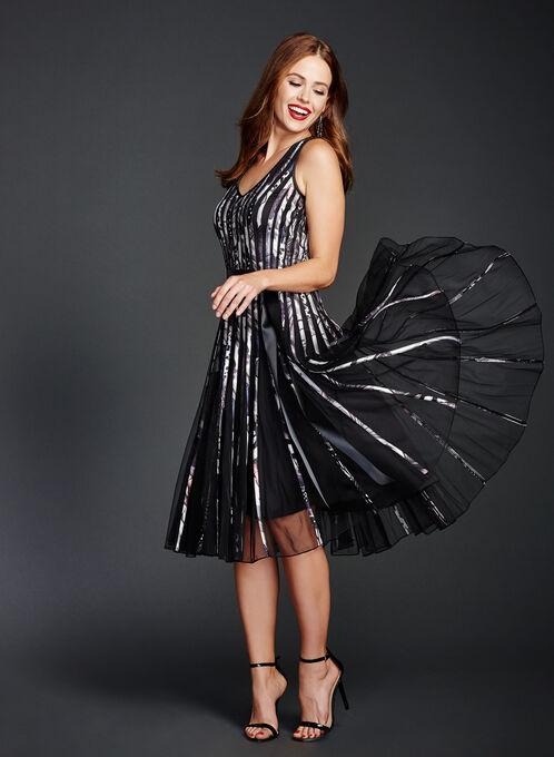 Printed Satin Stripe Midi Dress, Black, hi-res