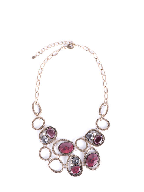 Link Chain Necklace with Oval Faceted Stones, Red, hi-res