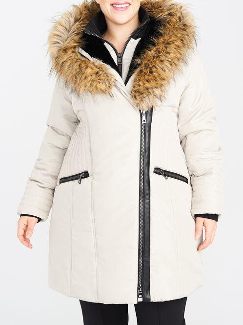 Faux Fur Trim Asymmetric Shawl Collar Coat, Off White, hi-res