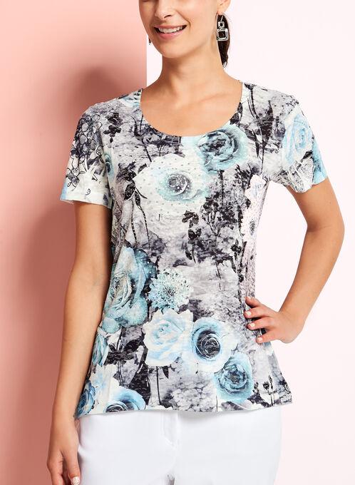 V-Neck Floral Print Top, Grey, hi-res