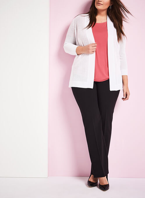 Mesh Knit Open Front Cardigan , White, hi-res