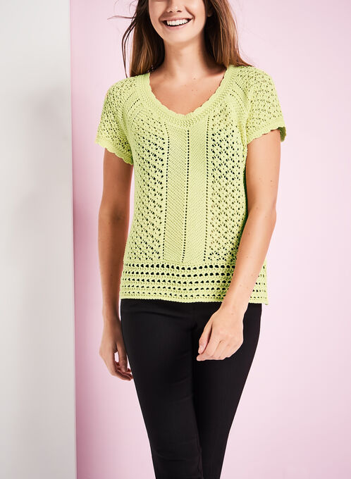 Crochet Knit Scoop Neck Sweater, Green, hi-res