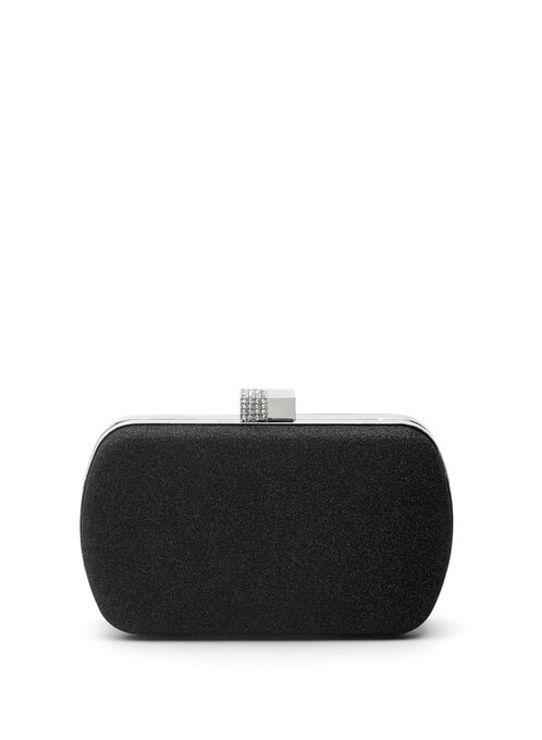 Crystal Closure Glitter Box Clutch, Black, hi-res