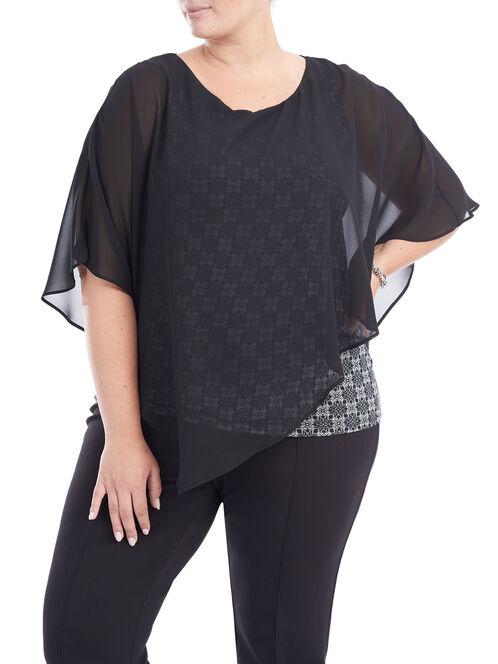 Short Sleeve Printed Popover Blouse, Black, hi-res
